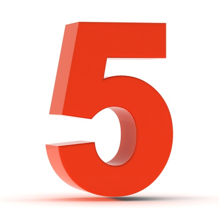 The number five - red plastic Stock Photo