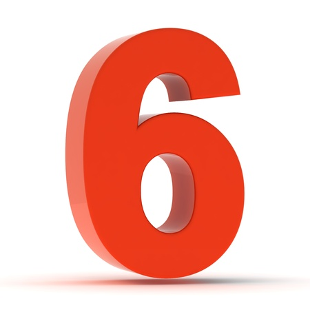 number six: The number six - red plastic Stock Photo
