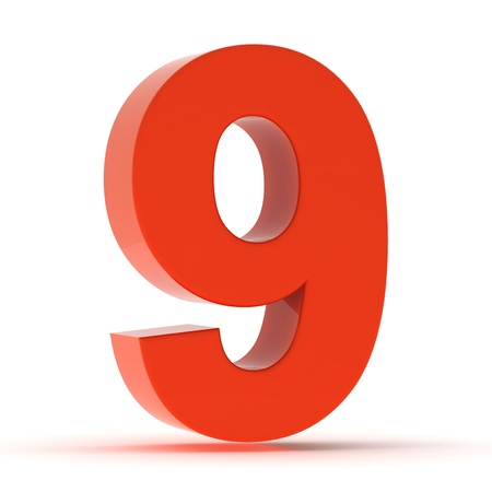 The number nine - red plastic Stock Photo