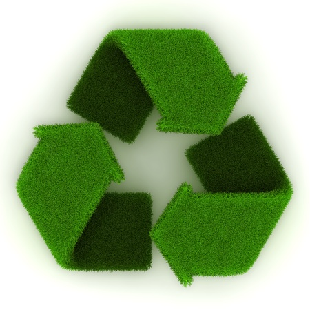 Recycling symbol made out of grass