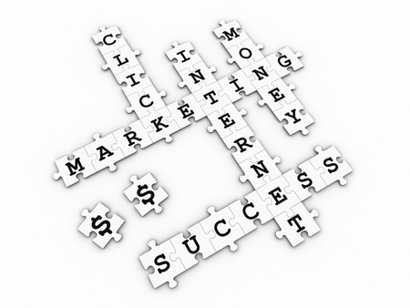 Puzzle pieces forming a crossword puzzle with internet marketing related words