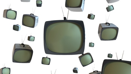 Old style TV sets floating in white space.