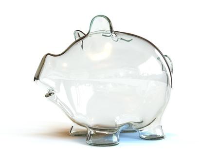 An empty glass piggy bank Stock Photo