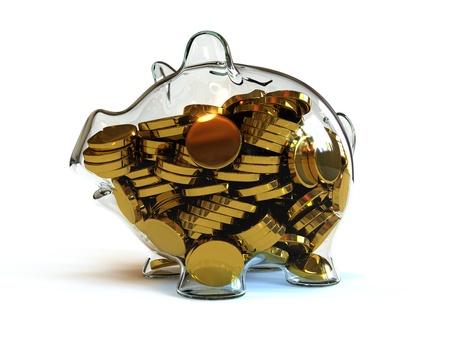 piggy bank: Full Piggy Bank Stock Photo