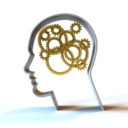 Golden gears inside a head.