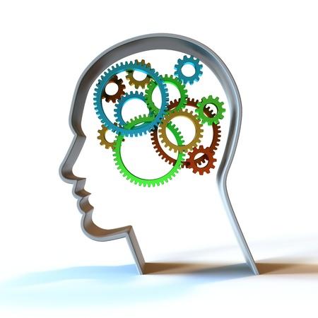Colorful gears inside a head.