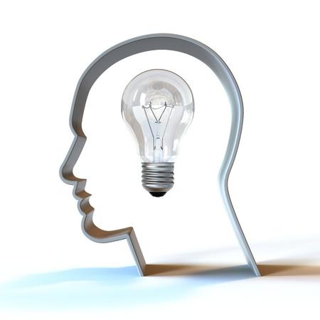 A light bulb inside a head.