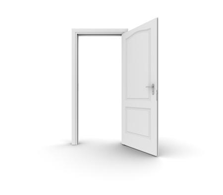 A white open door