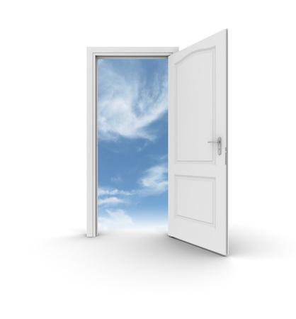 A white open door to the sky