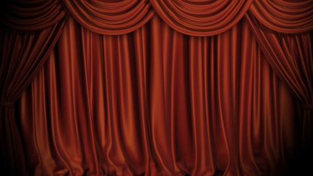 Red curtains on stage. Stock Photo