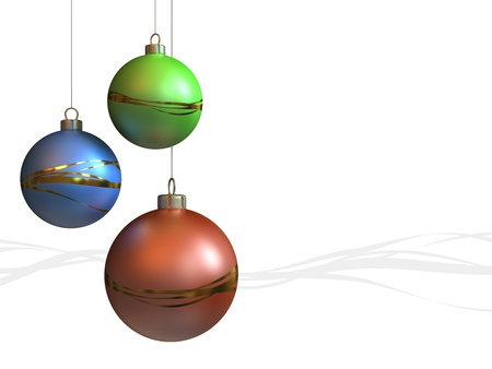 Red green and blue christmas balls hanging on white and gray waves background.