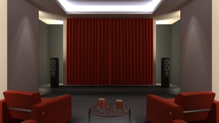 Home cinema room Stock Photo