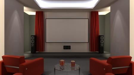 Home cinema room - open curtains Stock Photo