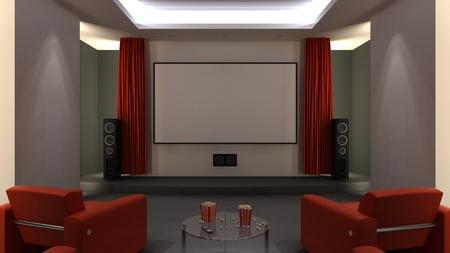 home cinema: Home cinema room - open curtains Stock Photo