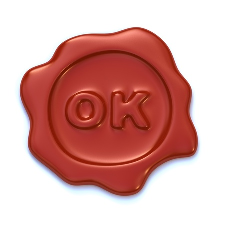 Red wax seal with OK letters on it