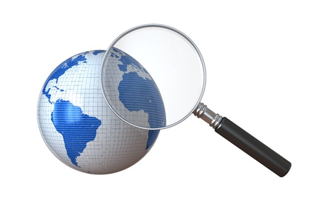 Global Search - Looking through a magnifying Glass on a globe.