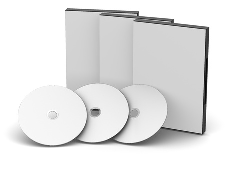 Black DVDCD cases with discs Stock Photo