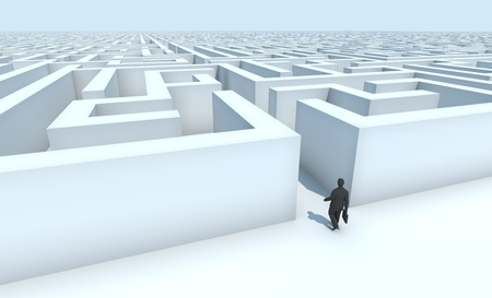 Business man entering a maze