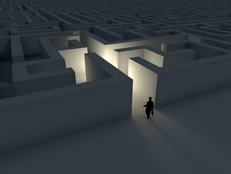 Business man entering a maze