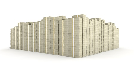 A huge stack of 100 dollar bill bundles.