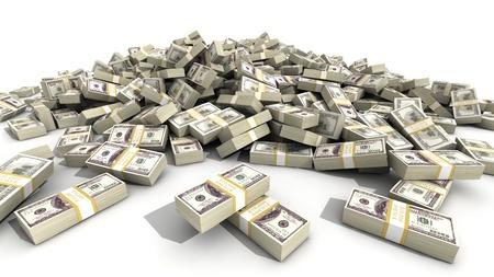 A huge pile of 100 dollar bill bundles.