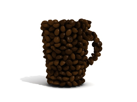 Coffee cup made out of coffee beans