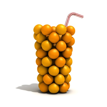An invisible glass filled with oranges.