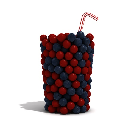 An invisible glass filled with cranberries and blueberries Stock Photo
