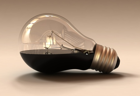 Studio shot of an oil filled light bulb