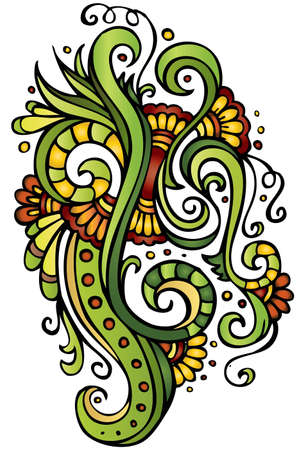 floral tracery: Fantasy vector fairy-tale floral colorful ornament