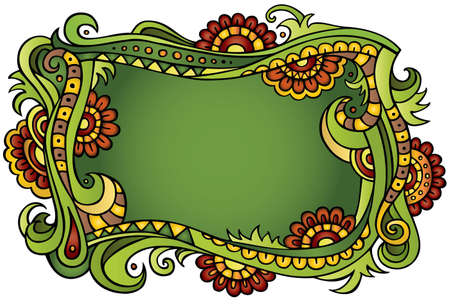 Fantasy vector fairy-tale floral colorful frame Vector