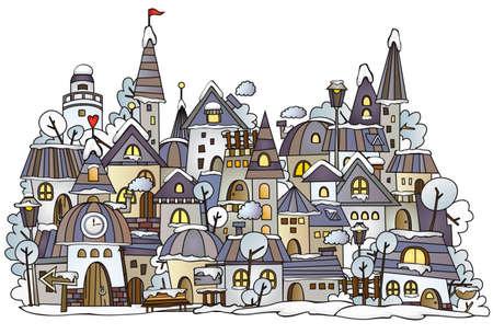 apartment block: cartoon winter construction town