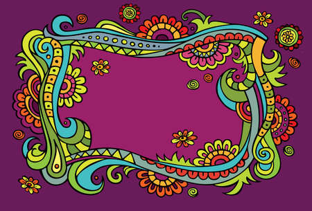 dream land: Fantasy fairy-tale floral colorful frame Illustration