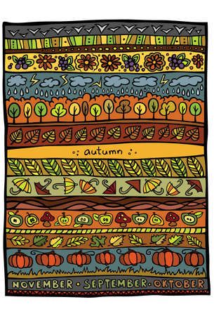 grapes and mushrooms: Autumn design background Illustration
