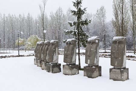 rano raraku: moais  sculpture in saldana spain winter Stock Photo