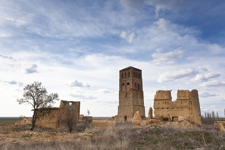 abandoned city: church tower in abandoned village villacreces spain