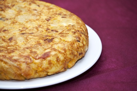 Spanish omelette with chorizo ??and peppers photo