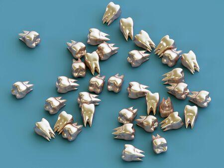 Golden teeth, gold crown teeth. 3d illustration Foto de archivo