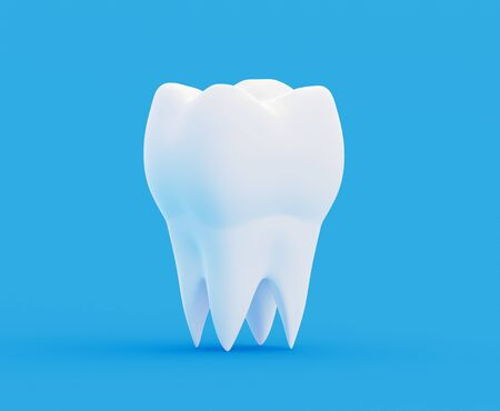 clean white healthy strong tooth molar, calcium and fluoride toothpaste. 3d illustration Foto de archivo