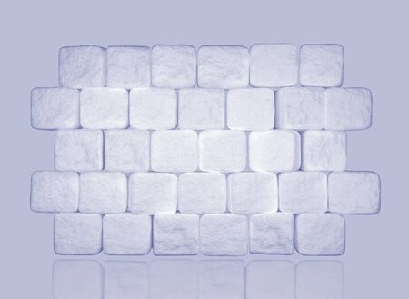 Wall of sugar cubes. Background from pieces of sugar. 3d illustration Archivio Fotografico