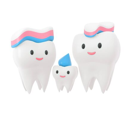 Cute happy smiling family of teeth with toothpaste hairstyle. Clear tooth concept.Brushing teeth. Dental kids care. 3d illustration Zdjęcie Seryjne - 142482254