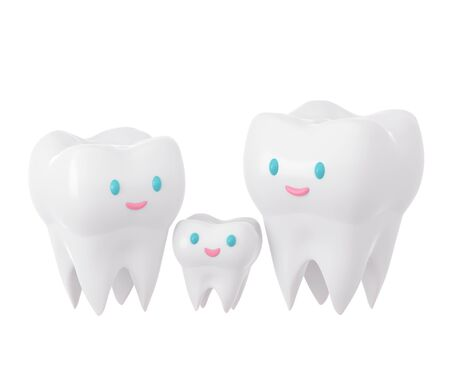 Cute happy smiling family of teeth. Clear tooth concept. Brushing teeth. Dental kids care. 3d illustration Zdjęcie Seryjne