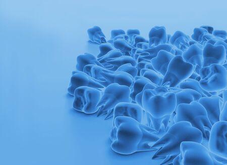 Background of high tech teeth molars. 3d illustration