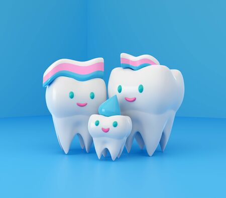 Cute happy smiling family of teeth with toothpaste hairstyle. Clear tooth concept.Brushing teeth. Dental kids care. 3d illustration Zdjęcie Seryjne - 142482181