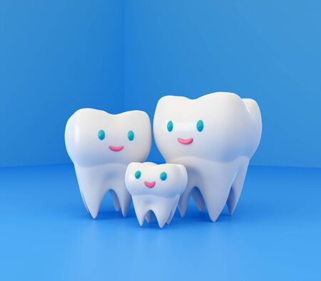 Cute happy smiling family of teeth. Clear tooth concept. Brushing teeth. Dental kids care. 3d illustration Zdjęcie Seryjne - 142482235