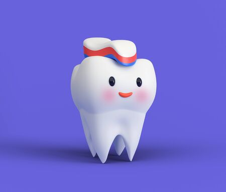 Cute happy smiling tooth with toothpaste hairstyle. Clear tooth concept.Brushing teeth. Dental kids care. 3d illustration Zdjęcie Seryjne - 142482199