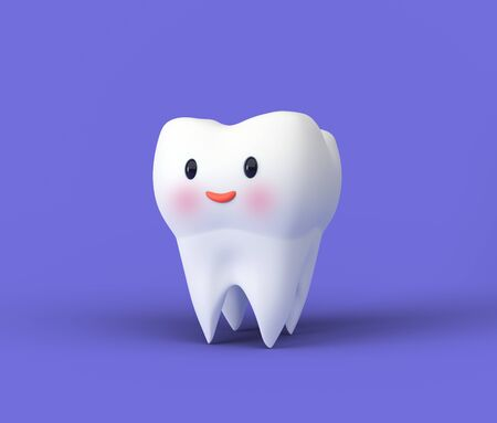 Cute happy smiling tooth. Clear tooth concept. Brushing teeth. Dental kids care. 3d illustration Zdjęcie Seryjne - 142482153