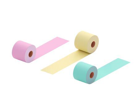 Multi-colored toilet paper. Colorful rolls of toilet paper - pink, green, yellow. Conceptually - diversity, choice. 3d illustration