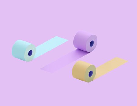 Multi-colored toilet paper. Colorful rolls of toilet paper - blue, purple, yellow. Conceptually - diversity, choice. 3d illustration