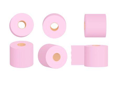 Set of pink toilet paper rolls on white background. 3d illustration